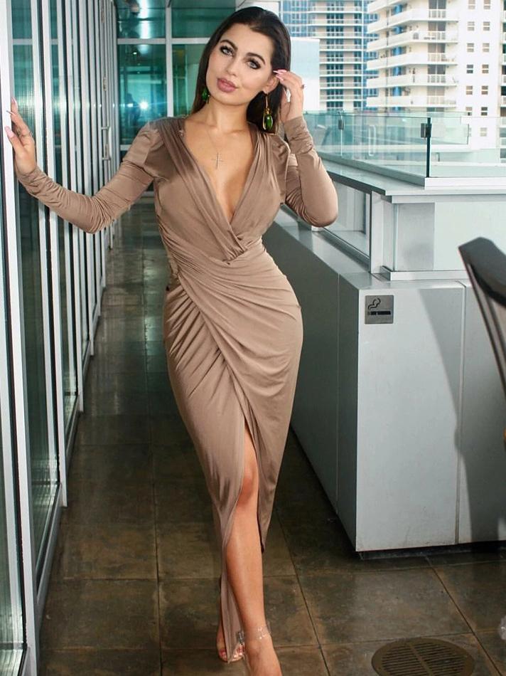 Deep v Solid Draped Long Sleeve Maxi Dress