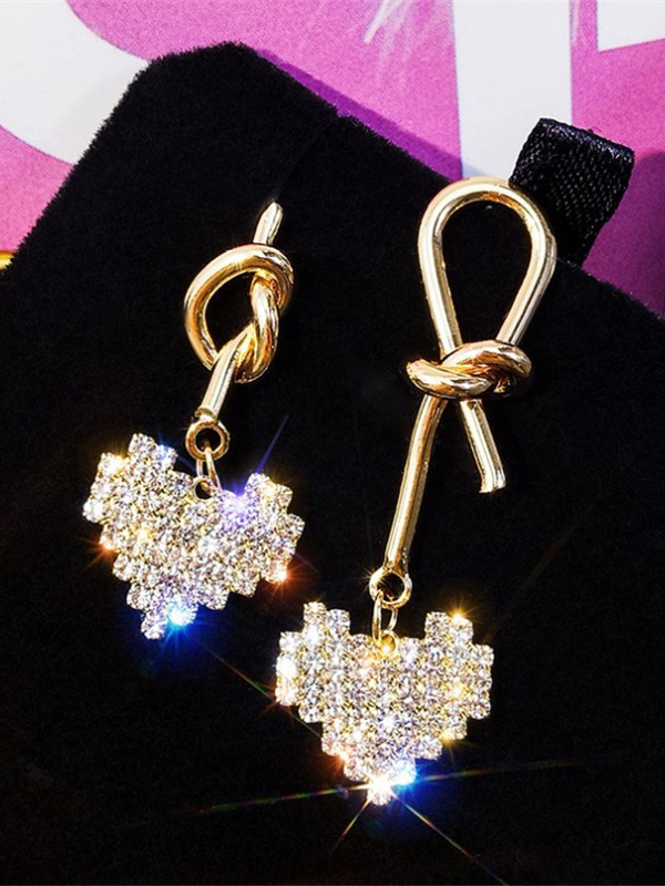 Twist Heart Shape Rhinestone Earrings