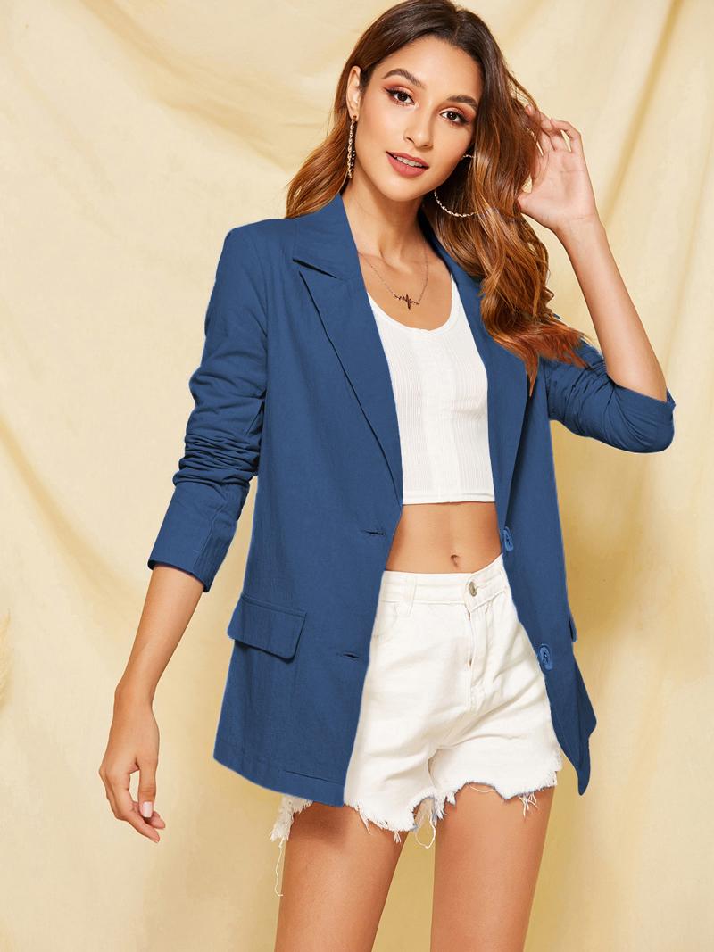 Solid Lapel Collar Casual Blue Blazer