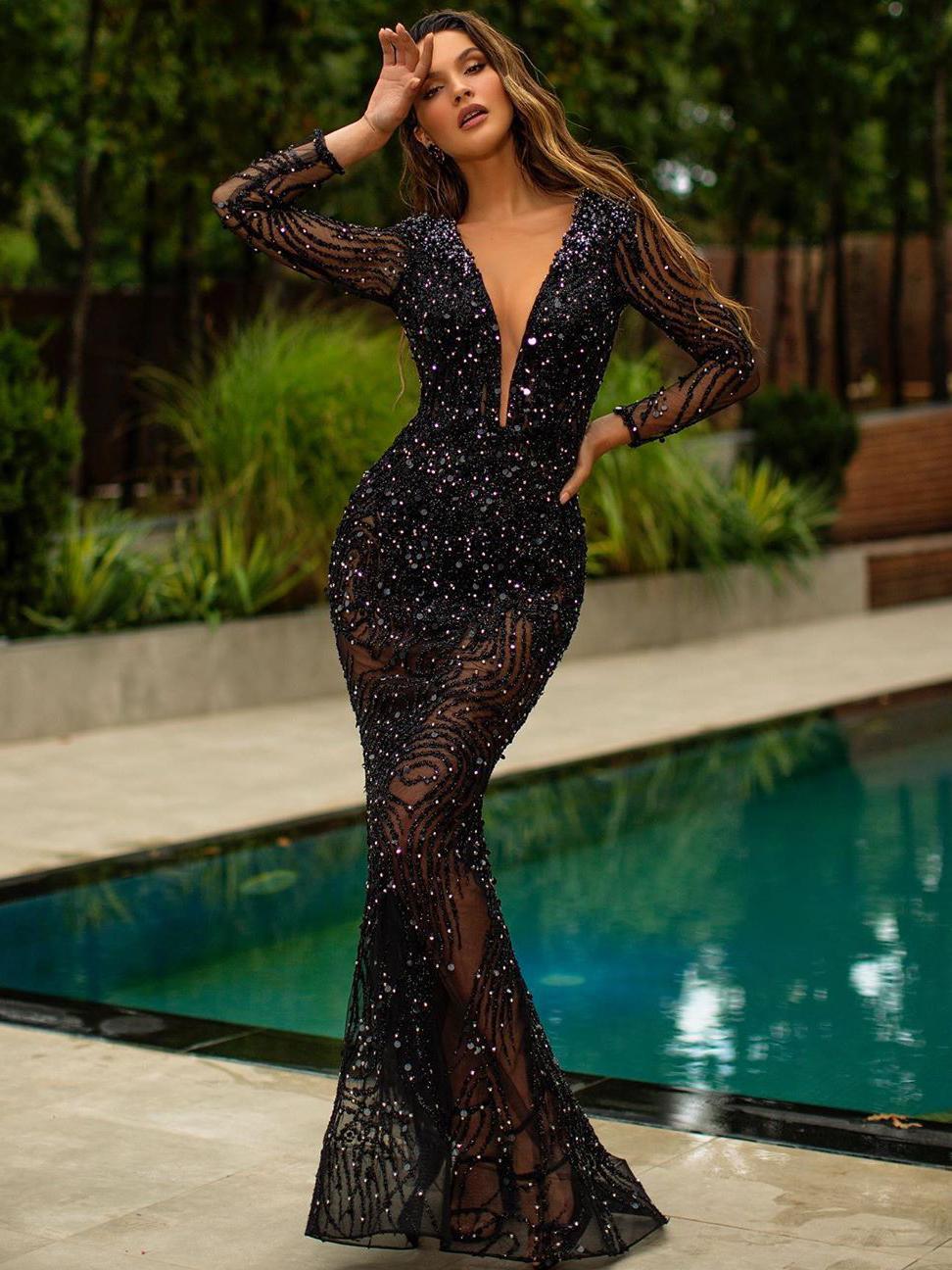 Deep V Neck Long Sleeve Sequin Evening Dress