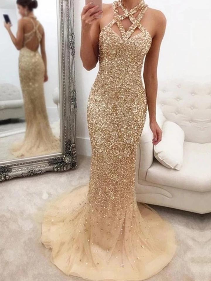 Elegant Sleeveless Sequin Evening Dress