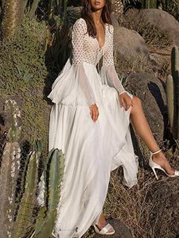 Bohemian Lace Patchwork Maxi Dresses For Women