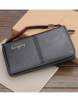 Vintage Style Solid Long Wallet For Men