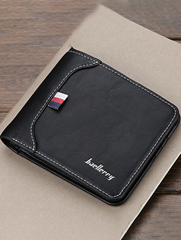 Simple Style Solid Short Trifold Wallet