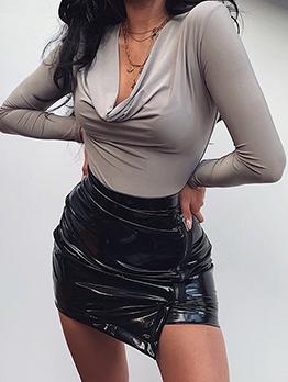 V Neck Slim Fit Long Sleeve Bodysuit