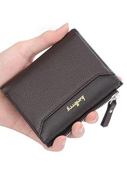 Hot Selling Solid Short Thin Mens Zipper Wallet