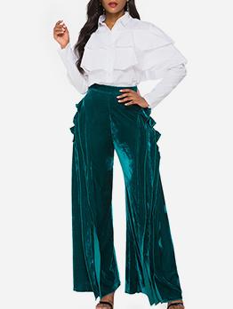 Ruffled Green Pants For Women