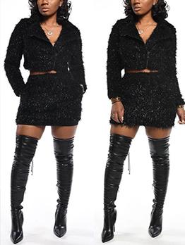 Glitter Cropped Top 2 Piece Skirt Set