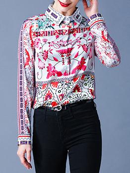 Trendy Flower Printing Single Breasted Ladies Blouse