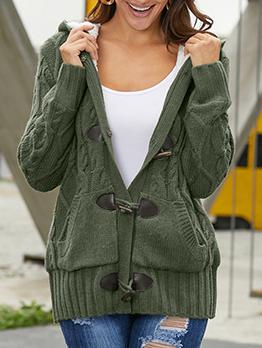 Casual Knitting Hooded Duffle Coat