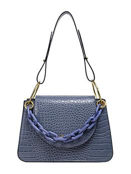 Crocodile Print Metal Rings Thick Chain Shoulder Bag