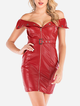 Sexy Pu Solid Zip Up Bodycon Dress