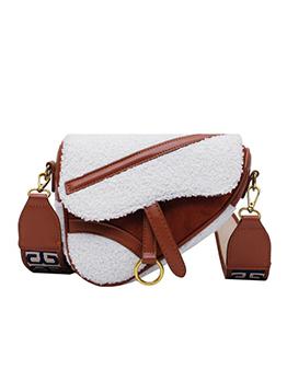 Irregular Shape Stitching Color Plush Wide Belt Shoulder Bag