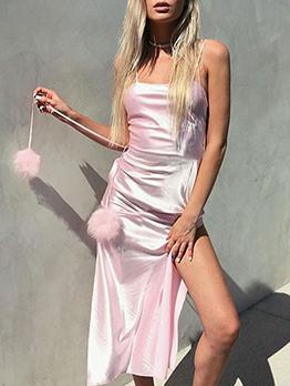 Fashion High Split Hem Sleeveless Satin Midi Dress