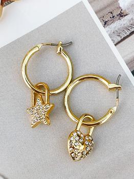 Rhinestone Decor Star Heart Asymmetric Gold Earrings