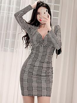 Fashion Houndstooth v Neck Long Sleeve Bodycon Dress