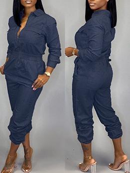 Casual Multiple Pockets Solid Color Denim Jumpsuit