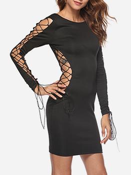 Bateau Neck Cold Shoulder Fitted Black Dress