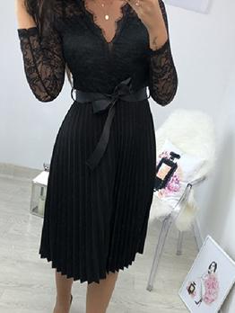 Elegant V Neck Lace Panel Black Pleated Dress