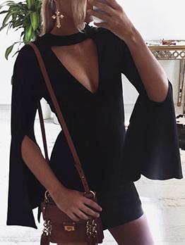 Keyhole Neck Flare Sleeve Black Mini Dress