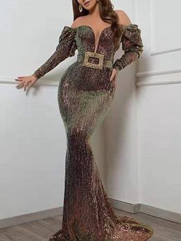 Elegant Off Shoulder Sequin Evening Dress