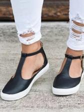Solid T Strap Closed Toe Flat Sandals