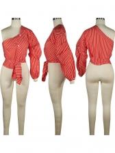 Inclined Shoulder Irregular Striped Blouse