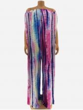 Tie Dye Wide Leg Off The Shoulder Jumpsuit