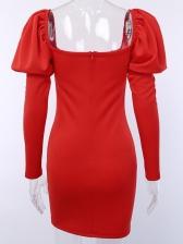 Solid Ladies Puff Long Sleeve Mini Dress