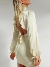 Trendy Backless Tie Wrap Silk Blouse