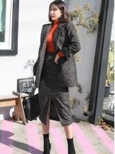 OL Style Lapel Blazer Split Midi Skirt Ladies Suit