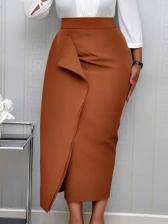 Pure Color Pleated Midi Skirt