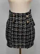 Vintage Style Houndstooth Tweed Skirt