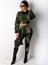 Camouflage Hooded Crop Top And Pants Set