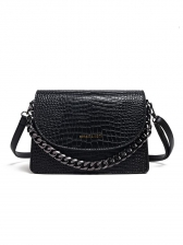 Stone Grain Thick Chain Solid Color Pu Shoulder Bag
