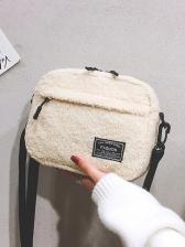 Multiple Zipper Adjustable Belt Plush Shoulder Bags