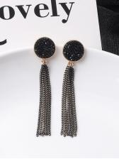 Vintage Round Black Rhinestone Chain Tassel Earrings