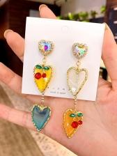 Rhinestone Decor Cherry Heart Drop Earrings