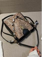 Retro Snake Print Twist Lock Silk Scarf Bucket Bags