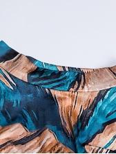 Vintage Printed Long Sleeve Midi Dress