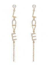 Chic Zircon Decor Letter Tassel Earrings