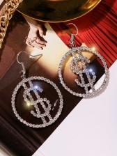 Rhinestone Dollar Symbol Earrings For Women
