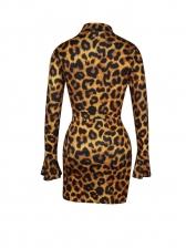 Leopard Printed Flare Sleeve Crop Top Skirt Set