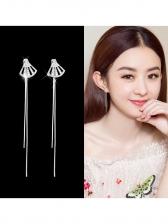 Chic Sector Rhinestone Tassel Earrings