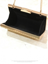 Evening Party Rectangle Diamante Clutch Bag With Chain
