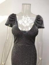 Classy Solid v Neck Evening Dresses For Women