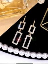 Shining Rhinestone Decor Acrylic Geometric Long Earrings