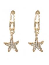 Simple Design Rhinestone Decor Starfish Golden Earrings