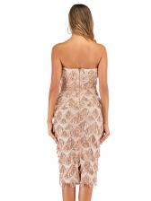 Strapless Sequins Tassels Evening Cocktail Dress