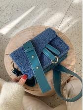Detachable Belt Plush Patchwork Ladies Shoulder Bag